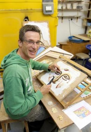 Halstead man creating a mosaic for entrance to Chelmsford Cathedral