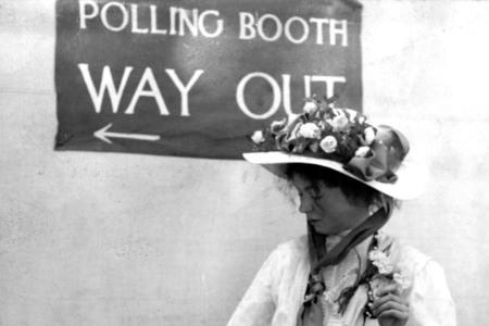 Harwich and Manningtree Standard: Suffragette Emmeline Pankhurst in a Polling Booth circa 1910.  She was one of the leaders of the movement to secure votes for women. (22899225)