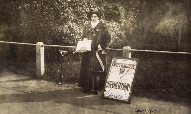 Harwich and Manningtree Standard: This photograph shows Princess Sophia Duleep Singh selling 'The Suffragette' newspaper outside Hampton Court in April 1913 (34376178)