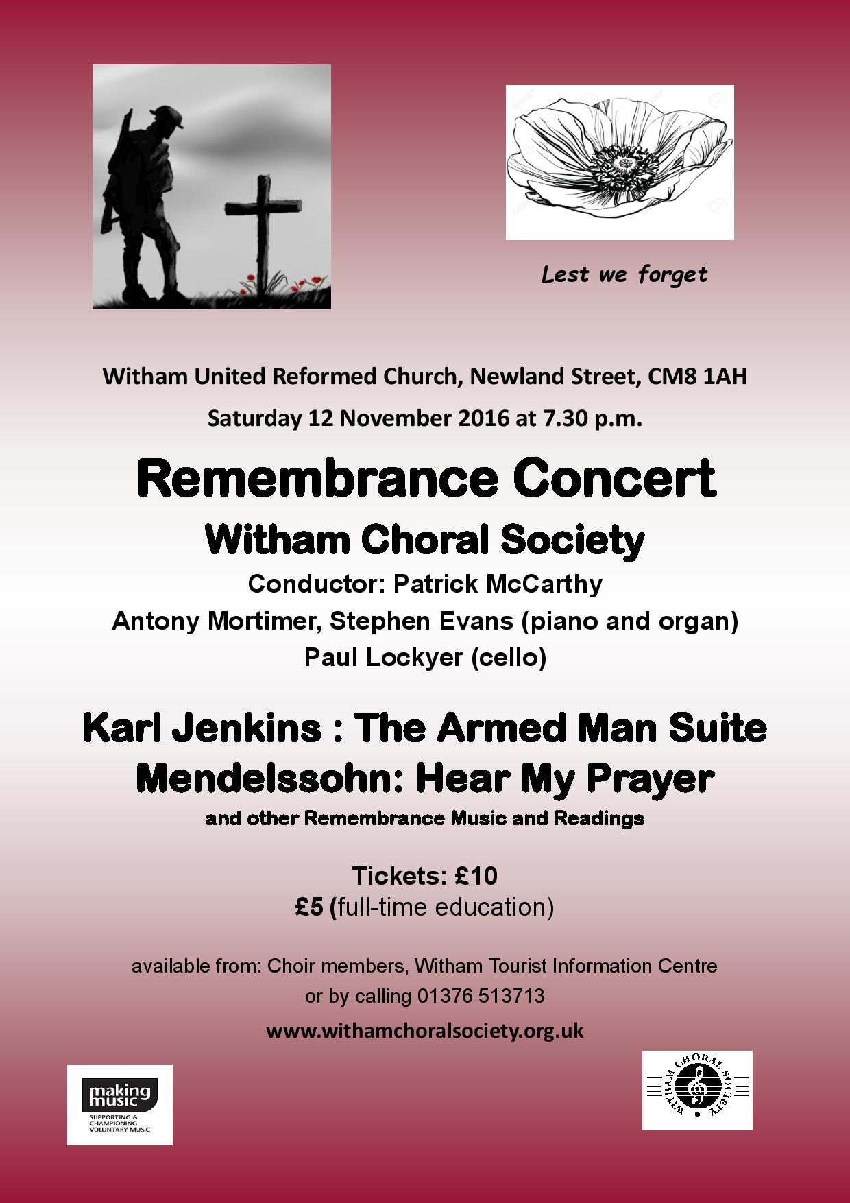 Remembrance Concert with Witham Choral Society