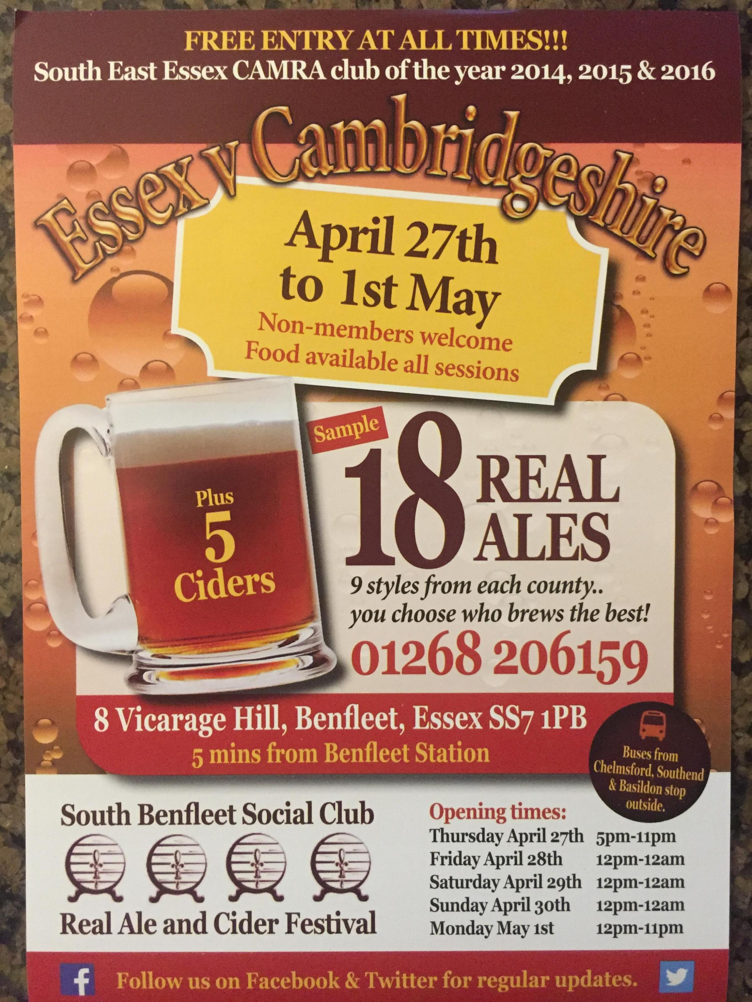 Essex v Cambridgeshire...Battle of the Ales