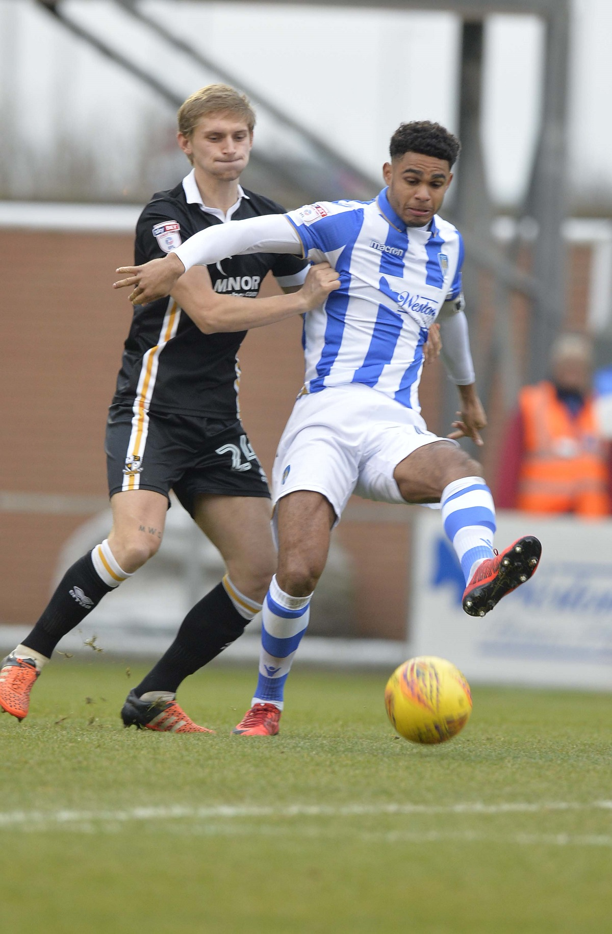 Well marshalled - Mikael Mandron in possession during Colchester United's 1-1 draw with Port Vale Picture: STEVE BRADING