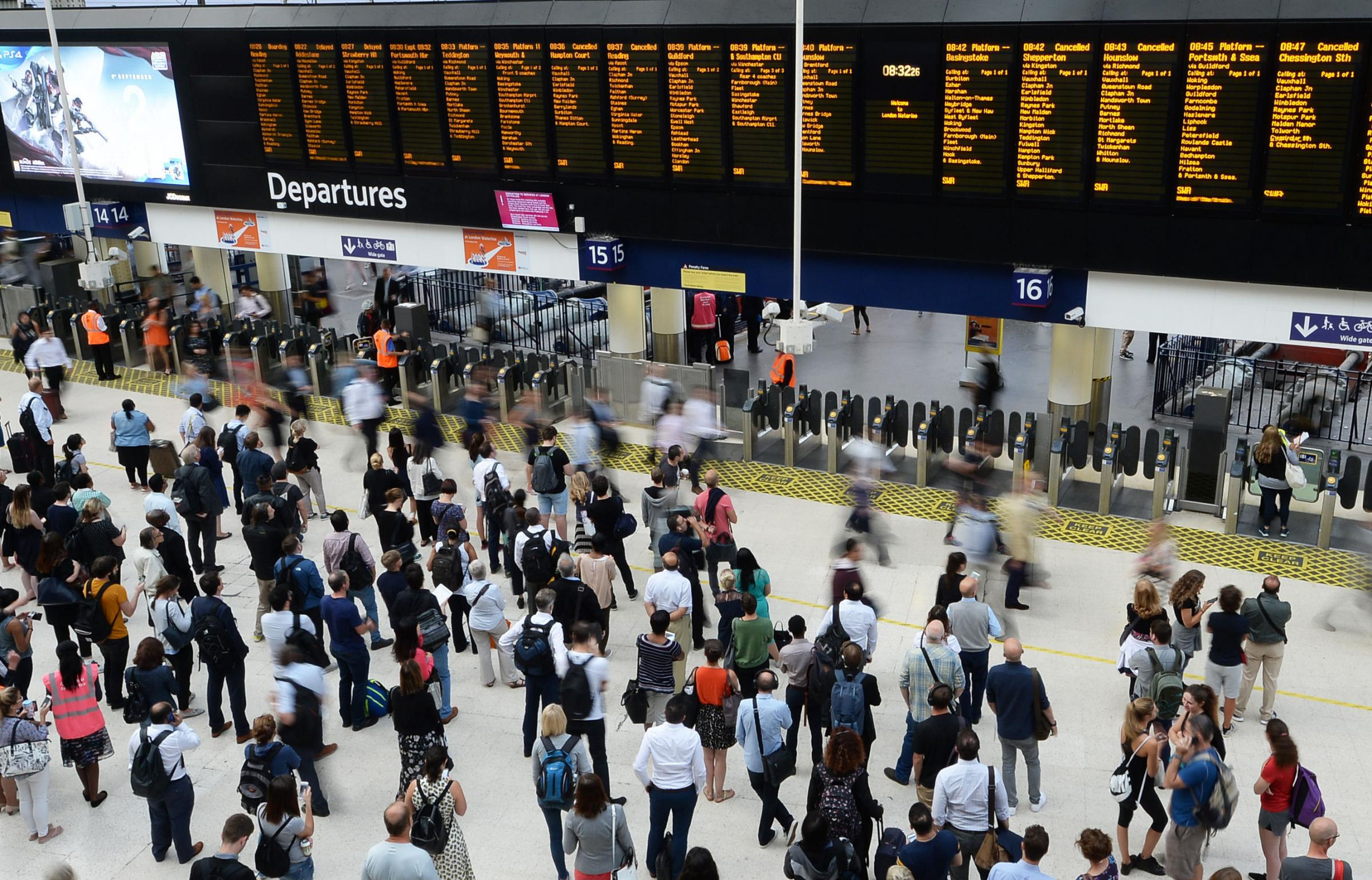 Crowds at London's Waterloo Station. Picture: John Stillwell/PA Wire