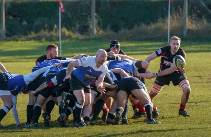 Accurate pass - Harwich and Dovercourt play the ball out from the back of a scrum Picture: Roger Cuthbert LRPS