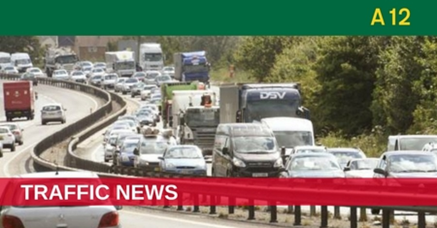 A crash is causing delays on the A12 near Witham