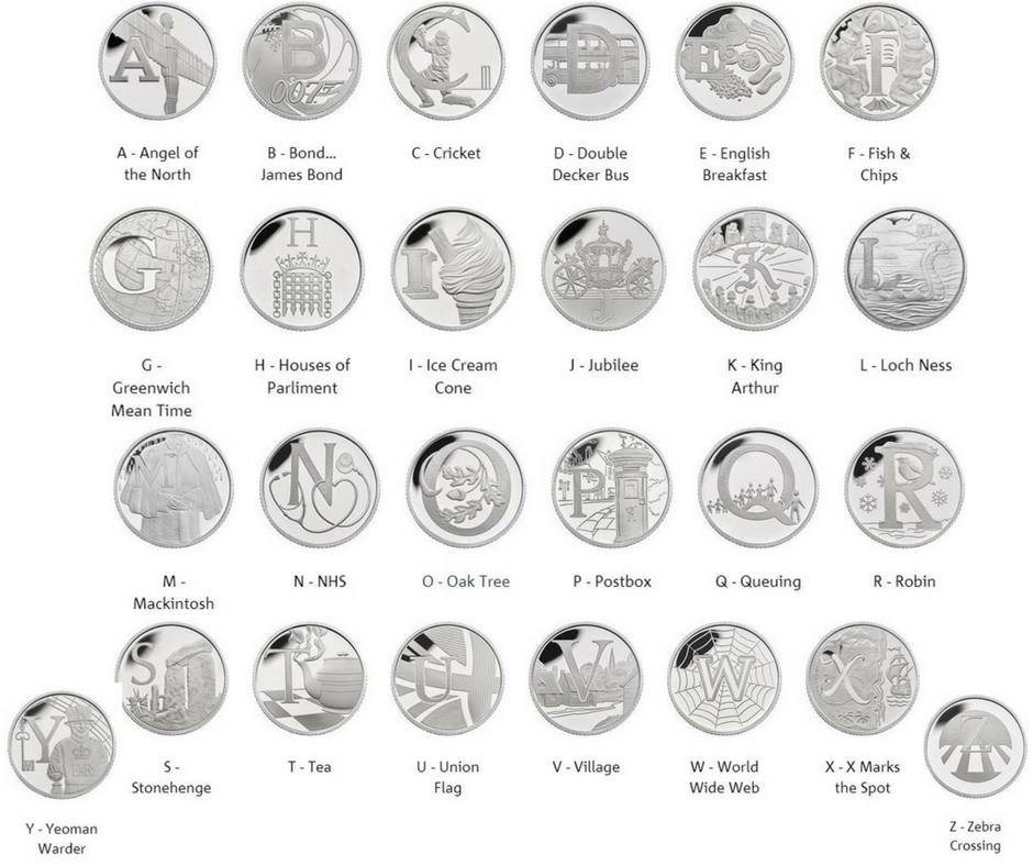 Royal Mint releases 26 coins to mark everything that's great about Britain