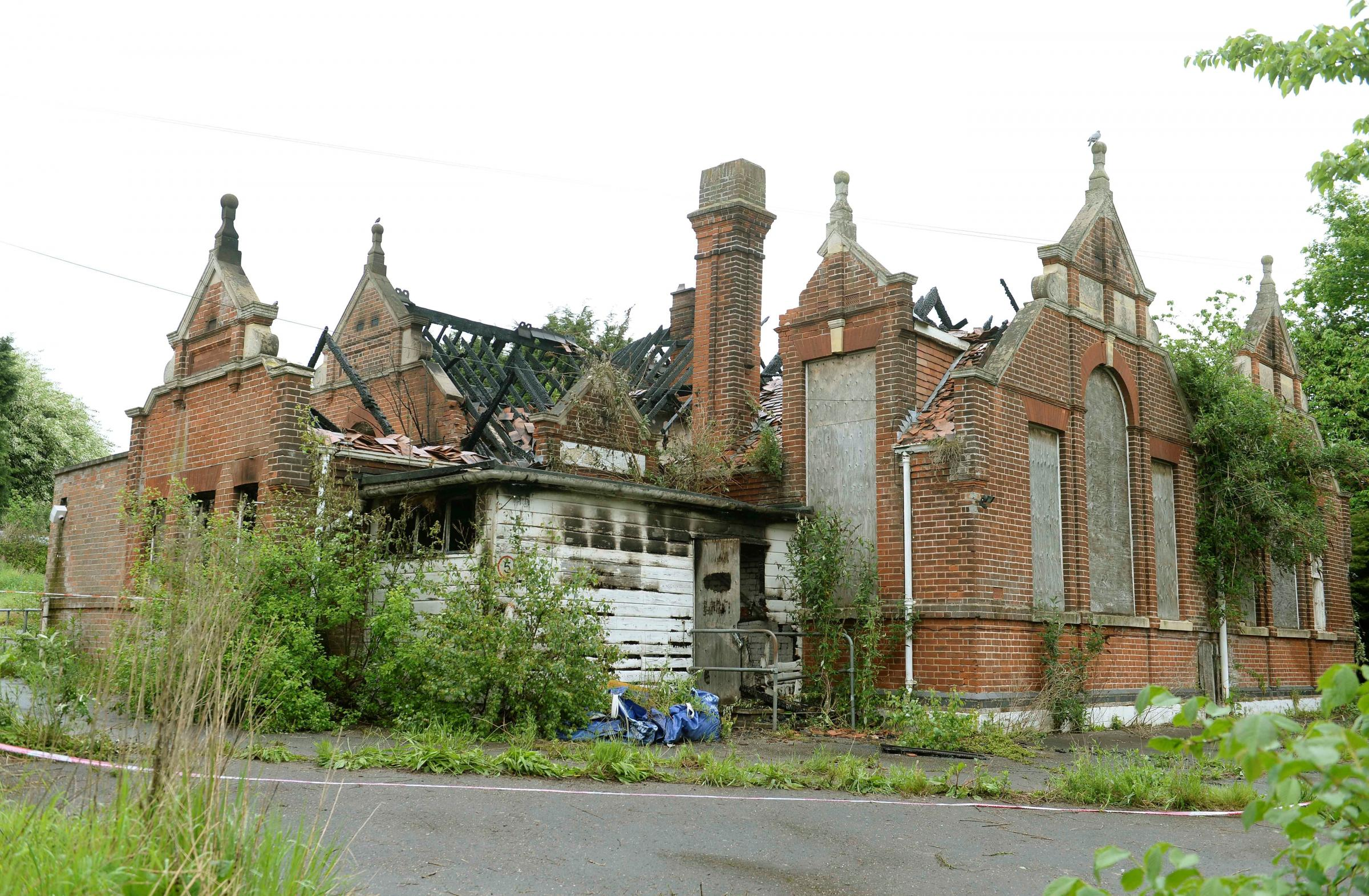 The remains of the old Ramsey County Primary in Wix Road, Ramsey, after the fire in 2016