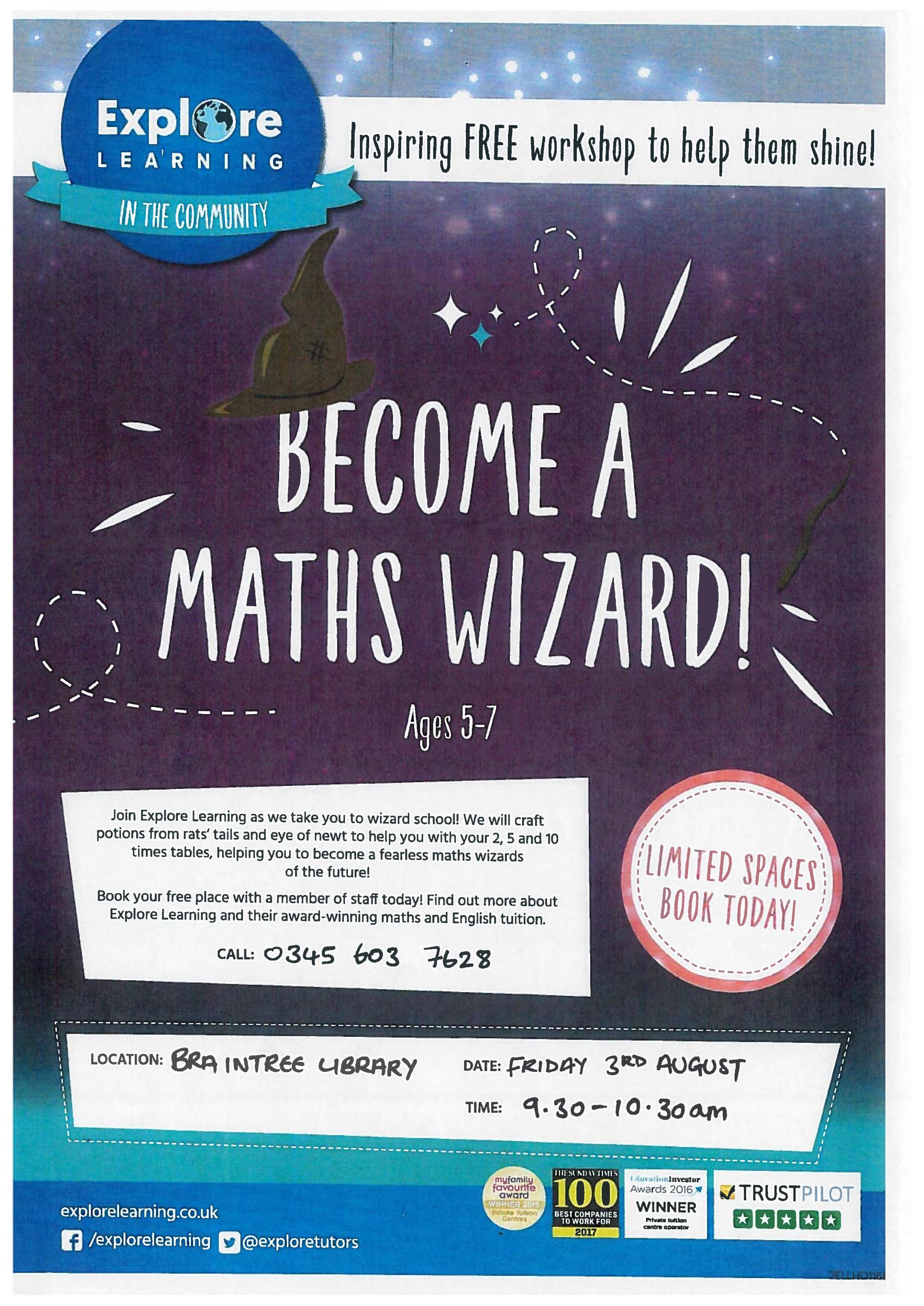 Explore Learning Creative Workshop - Become A Maths Wizard