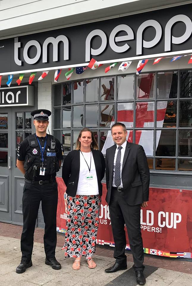 Patrol - Darren Deex, of the Tendring Community Policing Team, pictured below with Karen Townshend (Licensing Manager TDC) and Ray Dowsett (from local business Tom Peppers)
