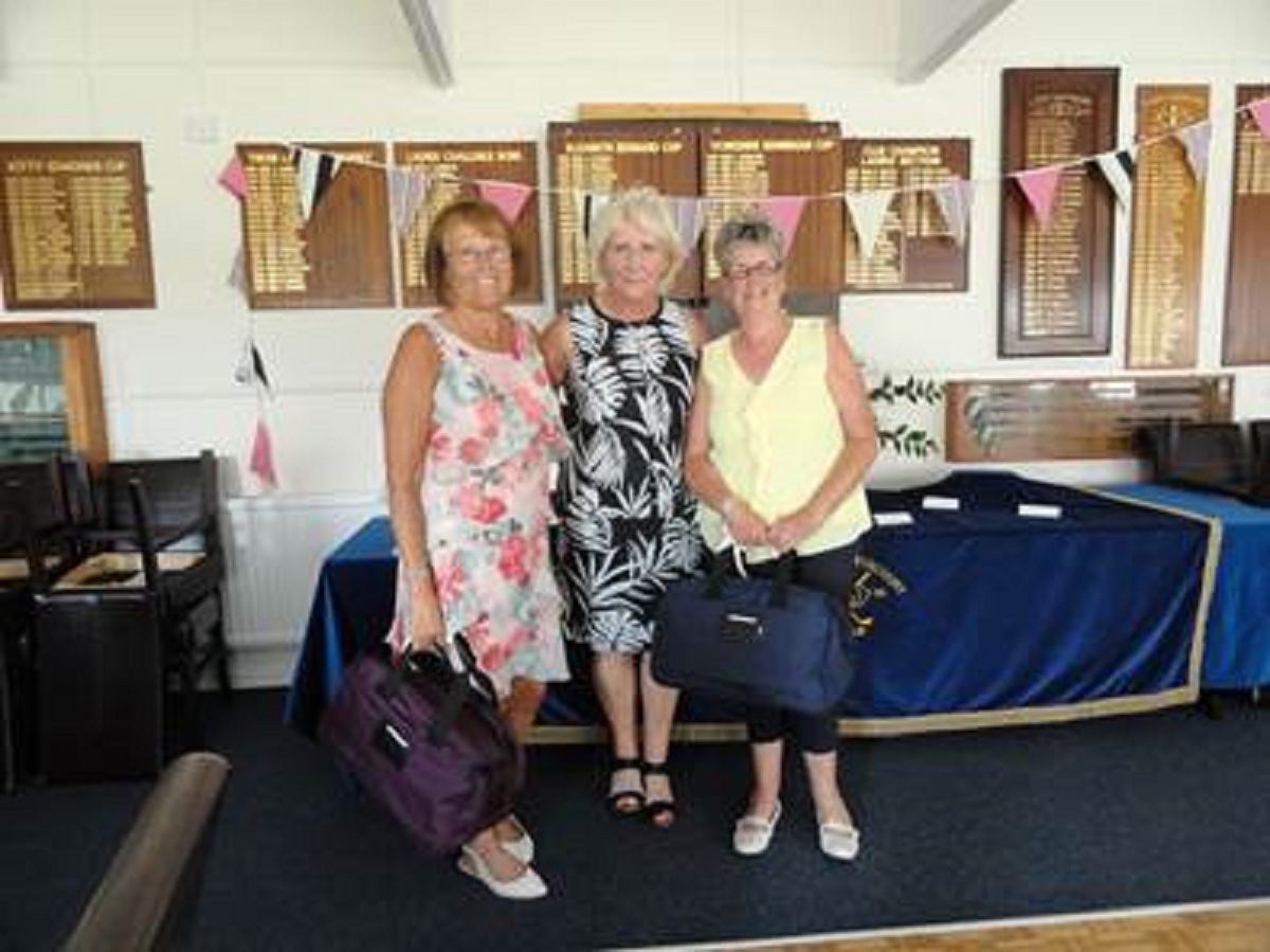 Winning combination - ladies' guest day winners Glynis Hutchence (left) and Sheren Harding (right), with lady captain Ruth Stapleton
