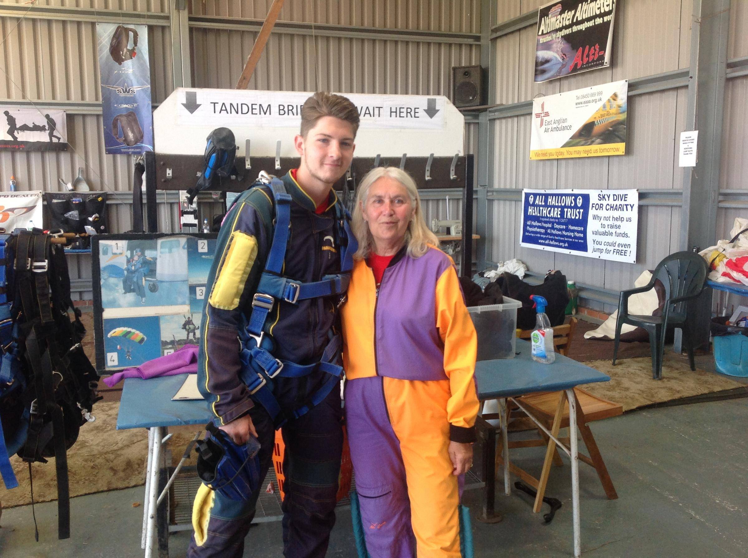 Luke Williams and Christine Dalby skydiving