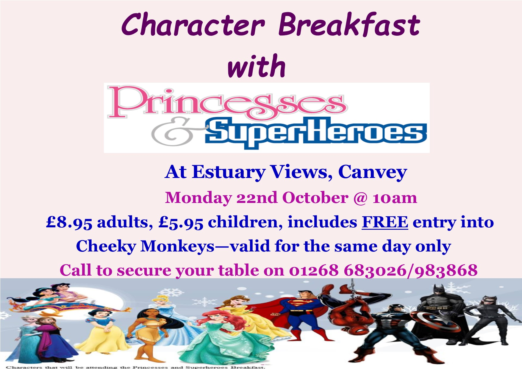 Princesses & Superheroes Character Breakfast