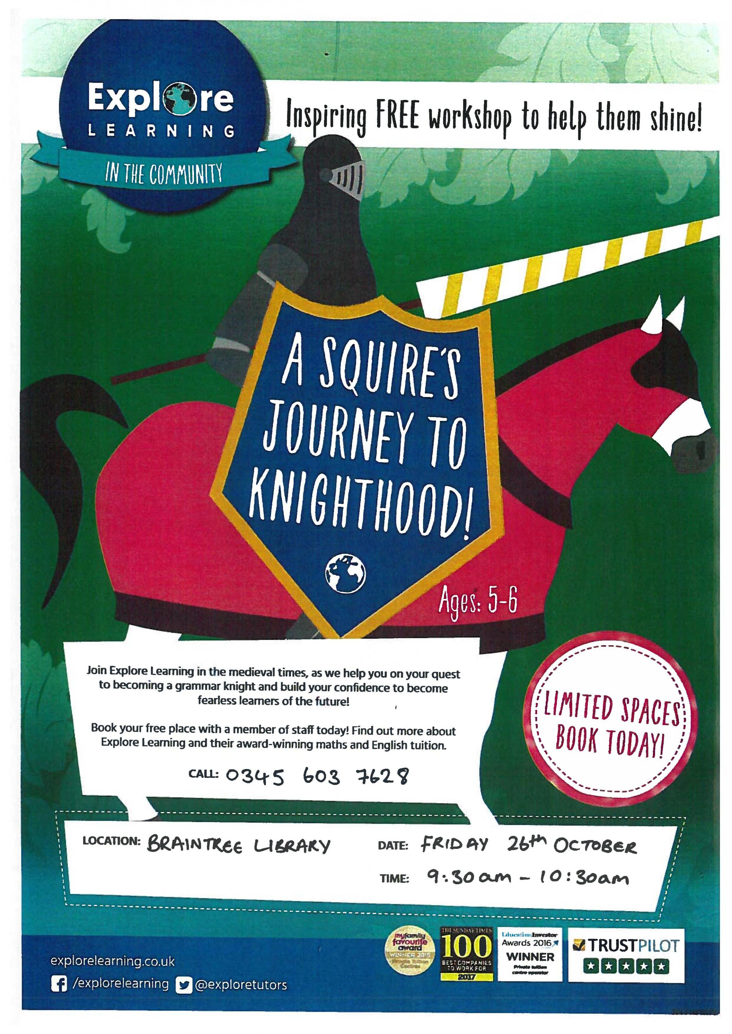 Explore Learning Workshop - A Squire's Journey to Knighthood