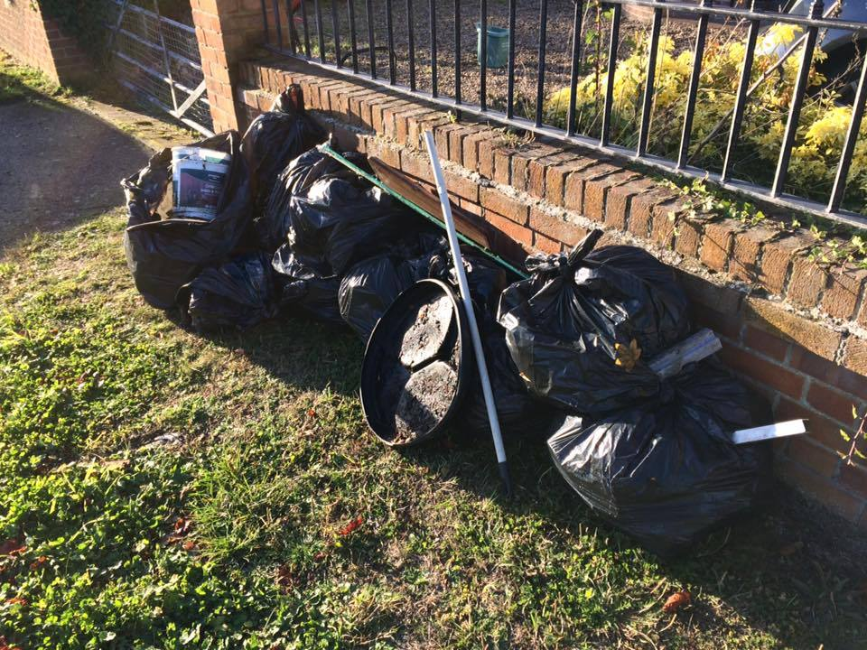 LITTER PICK: Bags of rubbish filled from the pick