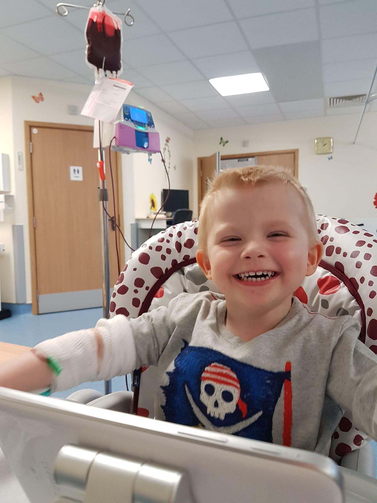Henry Alderson, 3, getting a blood transfusion
