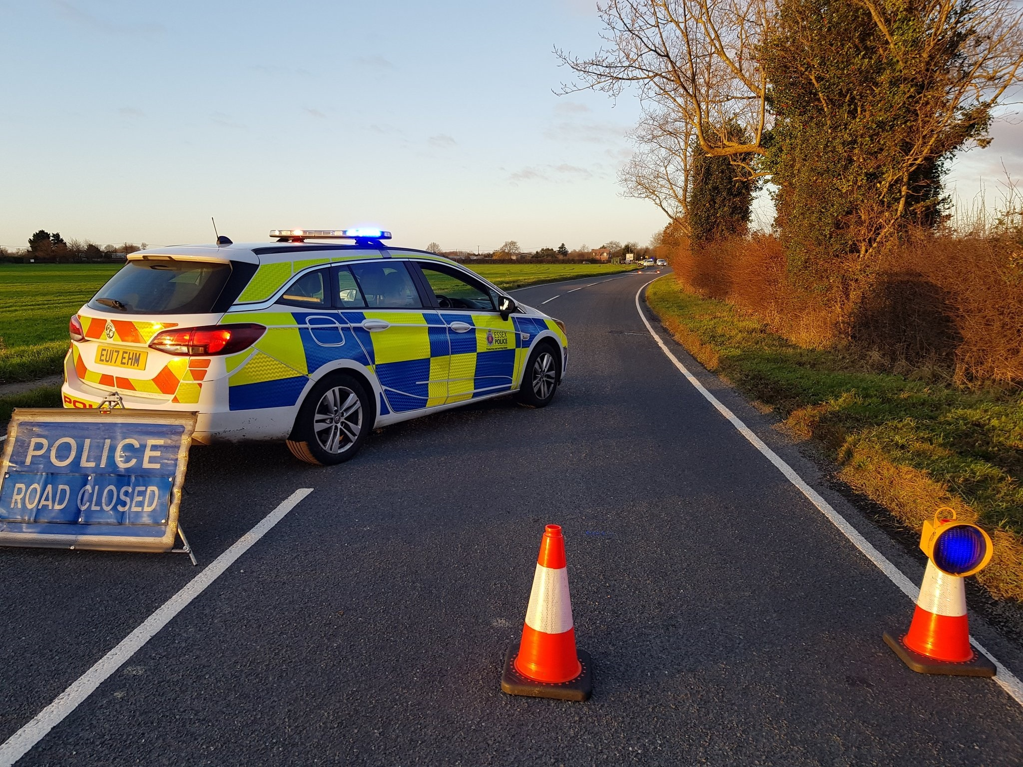 Scene - police closed off Harwich Road, Lawford, for several hours following the crash