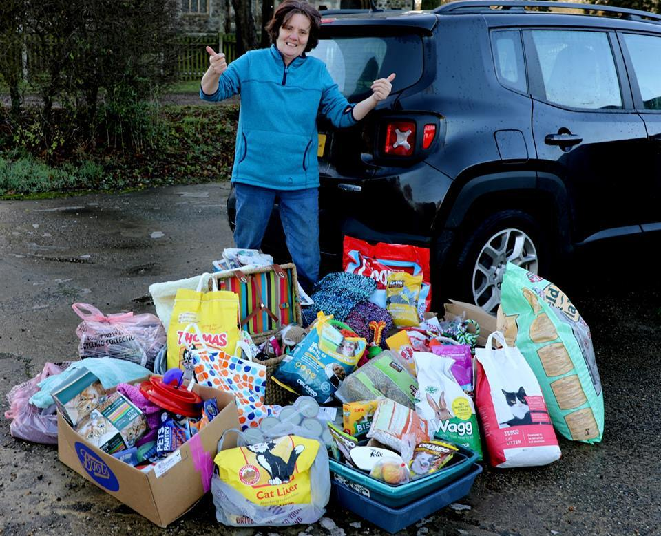 Gill Lewis with donations being given to Mistley Place Park