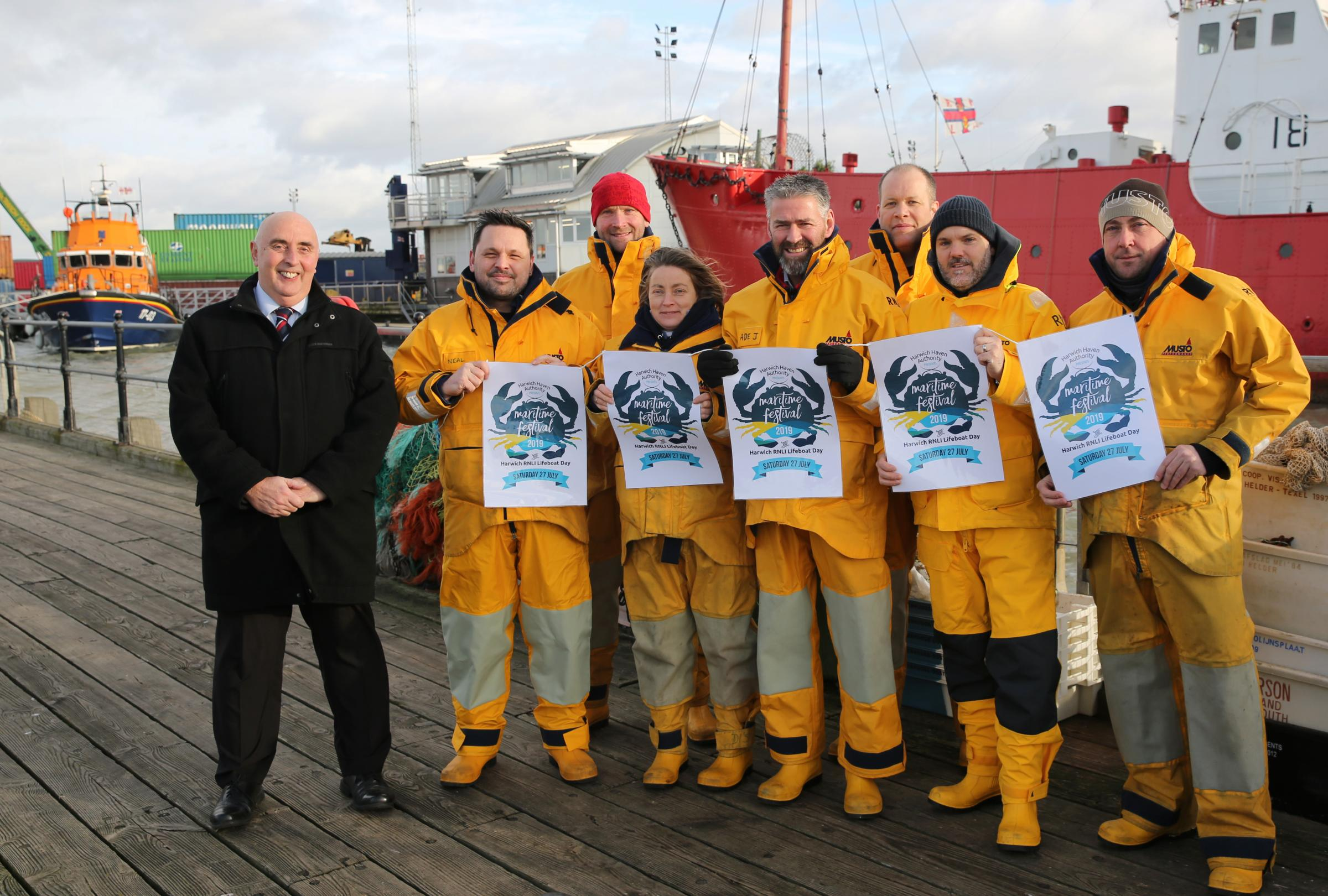Image to accompany the press release is attached. Caption should read: Neil Glendinning, CEO, Harwich Haven Authority (left) with members of the Harwich RNLI Lifeboat station