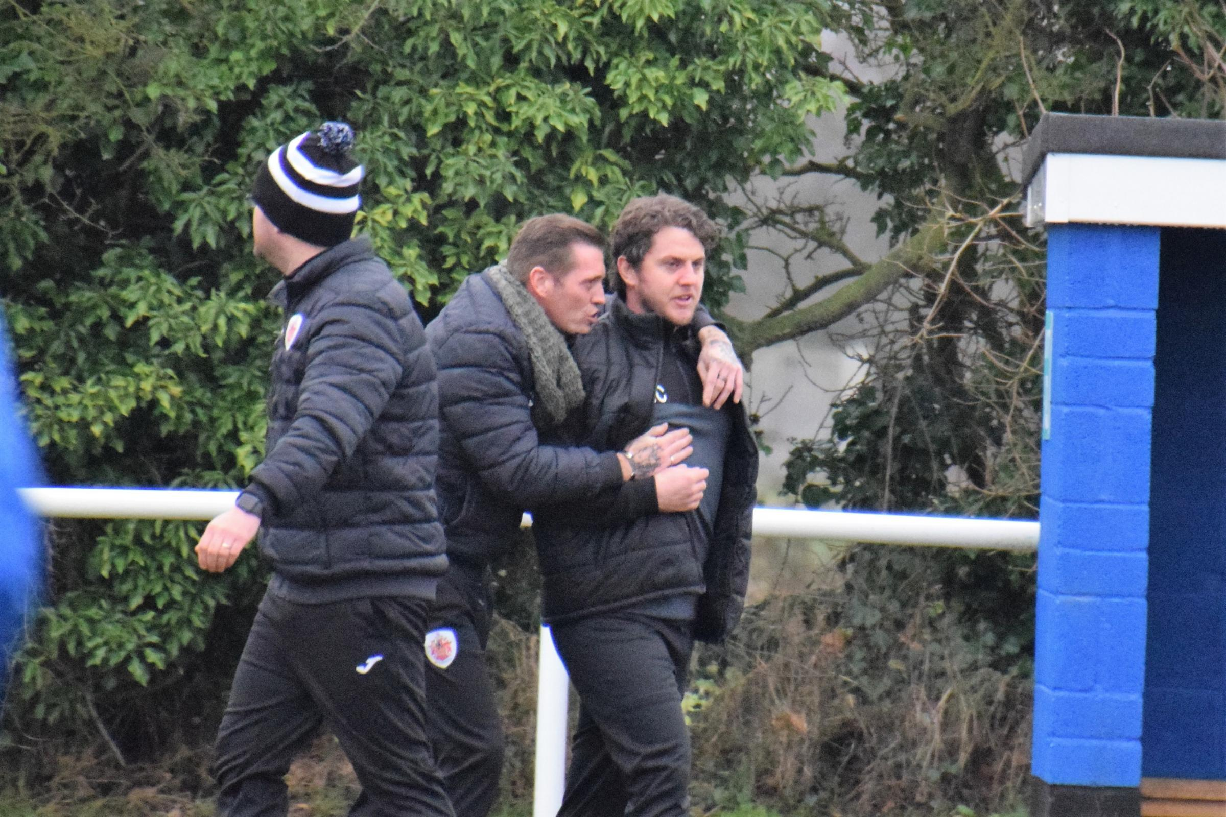 Manager Matt Carmichael (pictured on right with Harwich & Parkeston boss Kieron Shelley) believes his Little Oakley players can be challengers next season.. Picture: Chris Smith