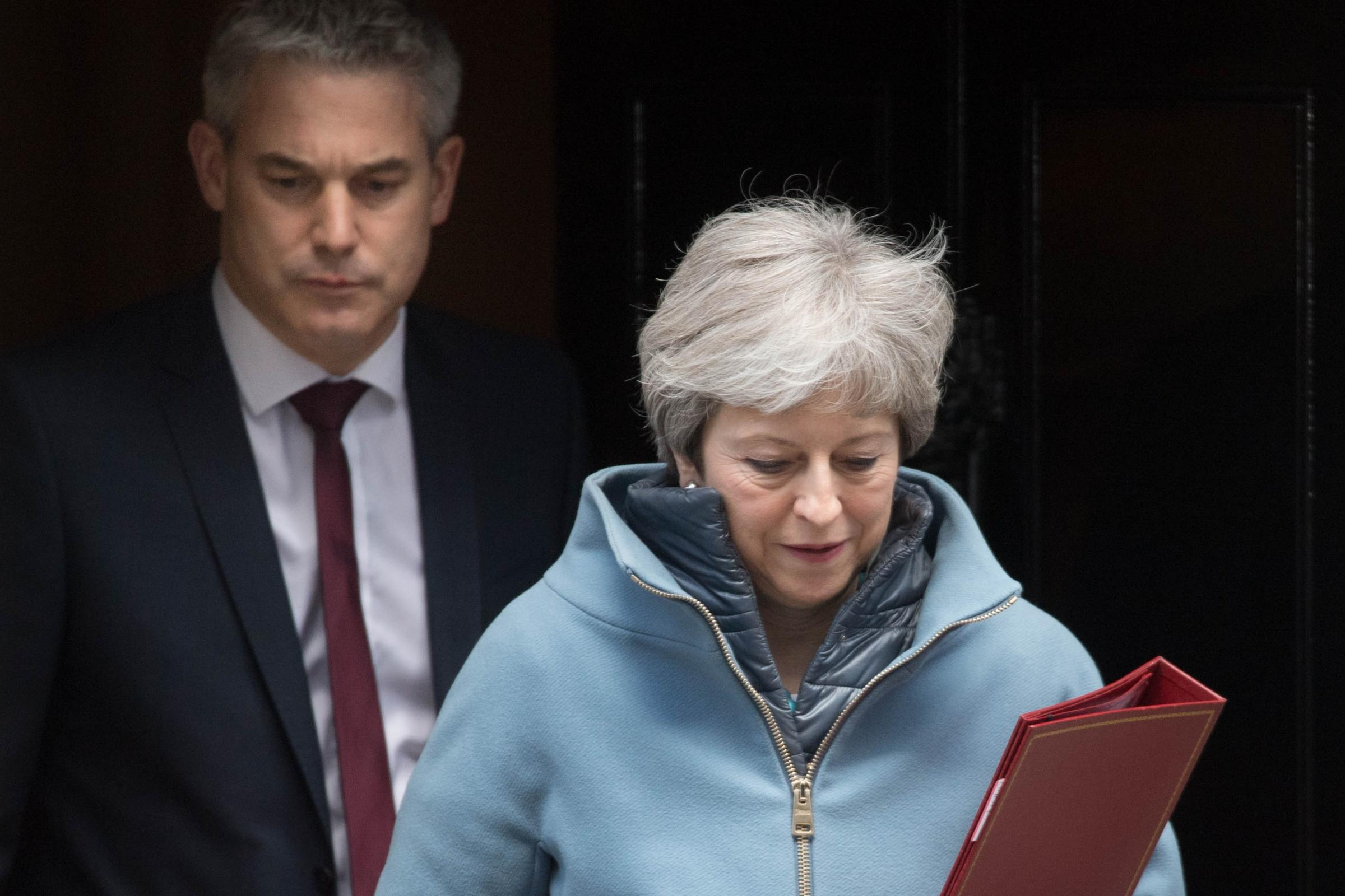 Brexit Secretary Stephen Barclay and PM Theresa May leave 10 Downing Street after a Cabinet meeting