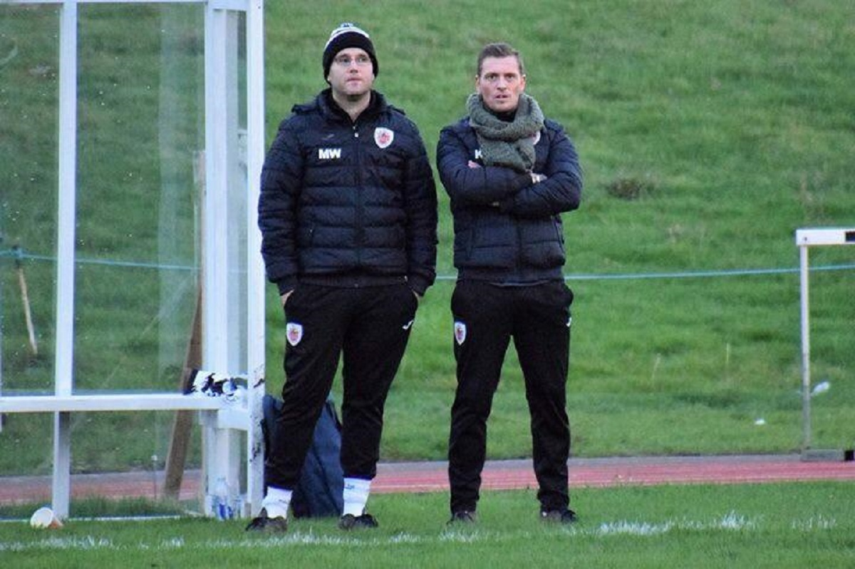 Harwich manager Kieron Shelley (right) and assistant boss Mike Wallace Picture: Chris Smith