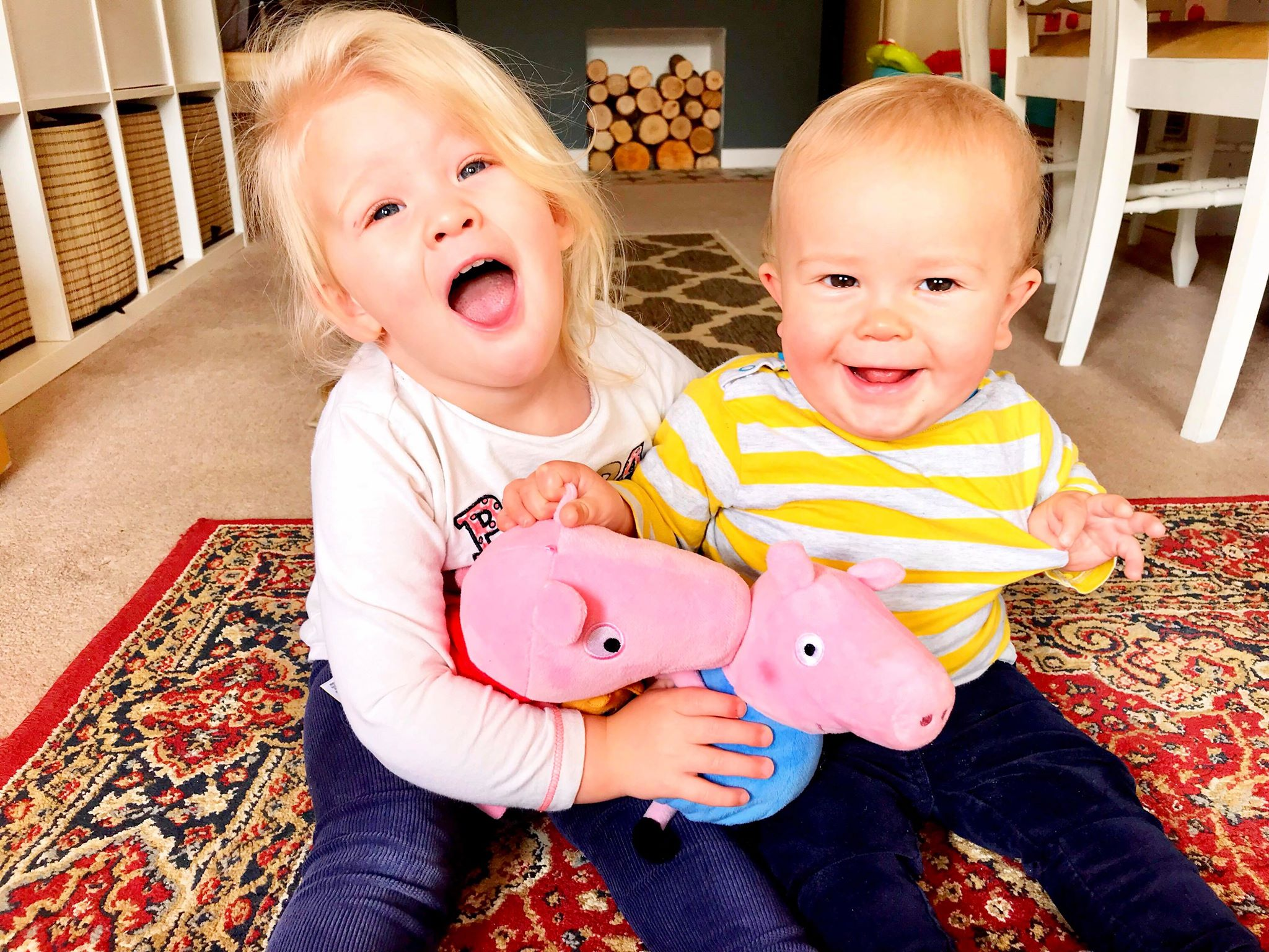 Siblings - Annie, 2, and her 10-month-old brother Fred are big Peppa Pig fans