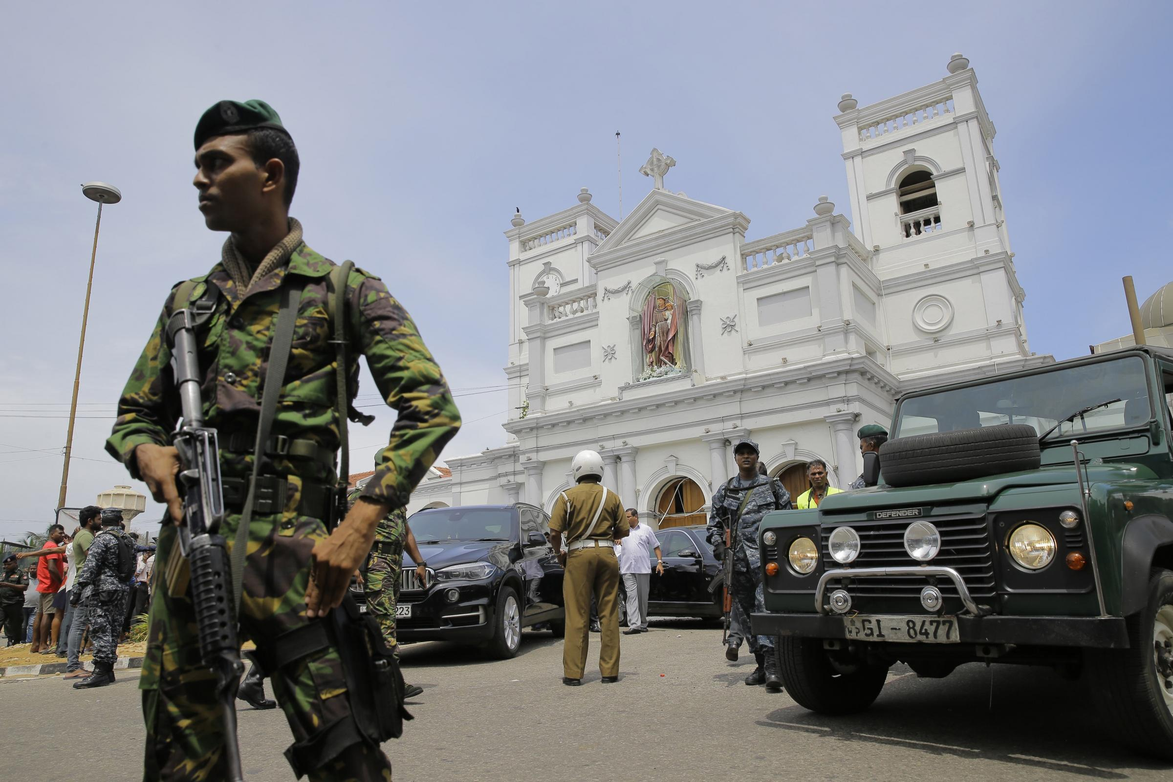 Soldiers secure the area around St Anthony's Shrine after a blast in Colombo