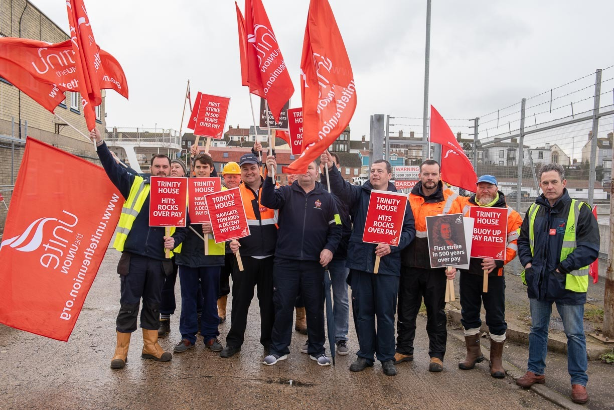 Strike - Seamen on strike earlier this month Picture: Peter Everard-Smith