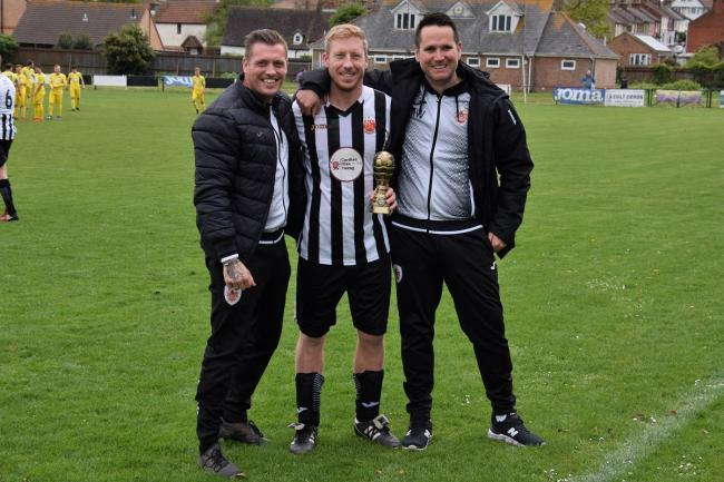 New role: Mike Wallace (right) with Harwich boss Kieron Shelley and long-serving Nicky Palmer, in recognition of the latter's 150th appearance for the Shrimpers. Picture: Chris Smith