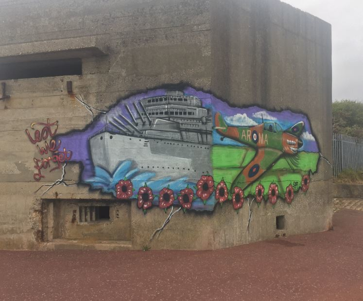 The latest graffiti on the Beacon Hill Fort structure on Dovercourt seafront
