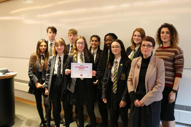 Students from Manningtree High School after winning the Human Rights Prize with Emma Berry, gallery manager at Art Exchange and Katya Al Khateeb from the university's Human Rights Centre