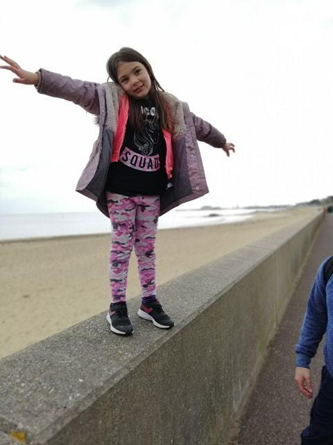 Little steps: Rosie Newman walking from Walton to Clacton