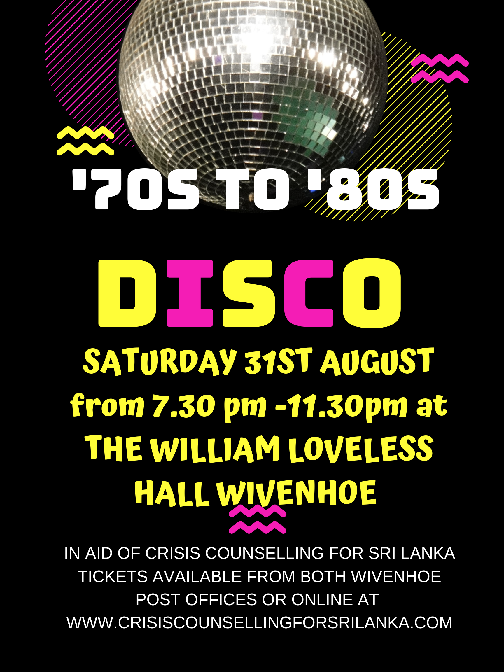 '70s to '80s Disco in aid of Crisis Counselling for Sri Lanka